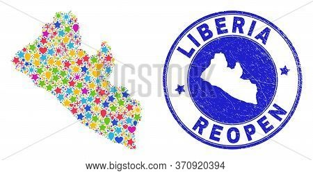 Celebrating Liberia Map Mosaic And Reopening Unclean Stamp. Vector Collage Liberia Map Is Organized