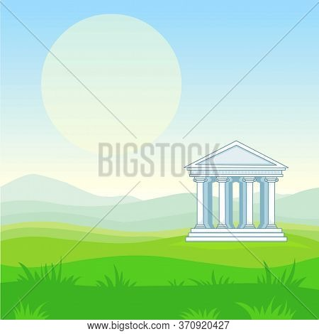 Animation Landscape: Mountain Valley, Antique Temple. Vector Illustration. The Place For The Text.