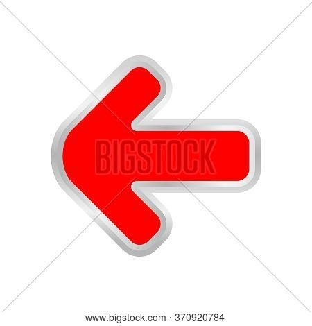 Red Arrow Pointing Left Isolated On White, Clip Art Red Arrow Icon Pointing To The Left, Arrow Symbo