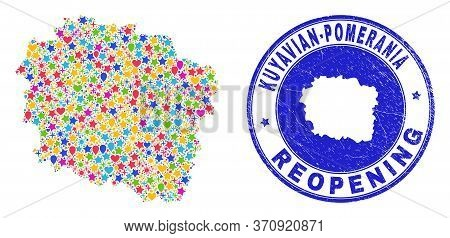 Celebrating Kuyavian-pomeranian Voivodeship Map Mosaic And Reopening Rubber Stamp. Vector Mosaic Kuy
