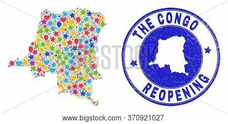 Celebrating Democratic Republic Of The Congo Map Collage And Reopening Rubber Seal. Vector Collage D