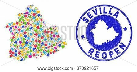 Celebrating Sevilla Province Map Collage And Reopening Grunge Stamp Seal. Vector Collage Sevilla Pro