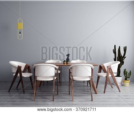 Poster, Wall Mock Up In Light Grey Dining Room Interior, 3D Rendering
