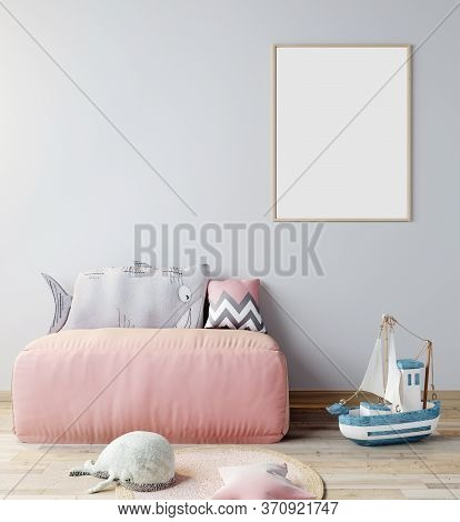 Mock Up Poster Frame In Children Room, Scandinavian Style Interior Background With Pink Sofa, 3D Ren