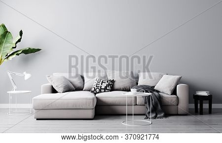 Home Interior, Luxury Modern Living Room Interior, Light Gray Empty Wall Mock Up With Sofa And Coffe