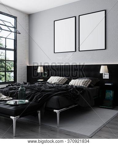 Mock Up Poster Frame In Loft Bedroom Interior Background, Scandinavian Style, 3D Rendering, 3D Illus