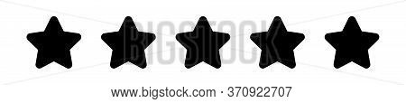 Black Five Stars Icon Cute Isolated On White, Chic 5 Star Shape Black, Illustration Simple Star Rati