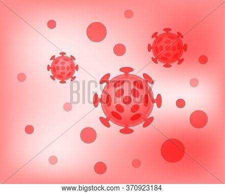 Virus Illustration Red Color, Virus Simple Flat Symbol, Clip Art Virus On Red Background, Monster Ic