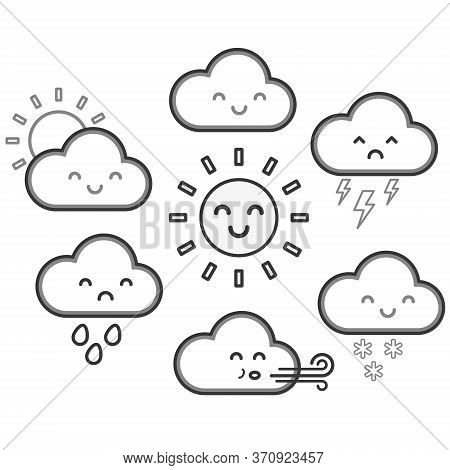 Cute Kawaii Cartoon Weather Symbols With Faces. Childrens Vector Illustration Of Sunshine, Clouds, R
