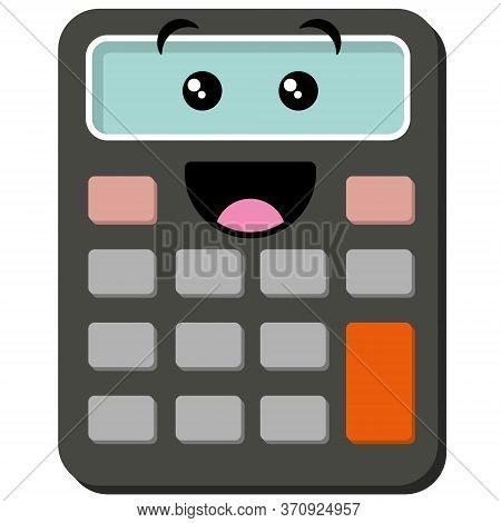 Cute Cartoon Face On Calculator. Fun Kids School Math Learning Vector