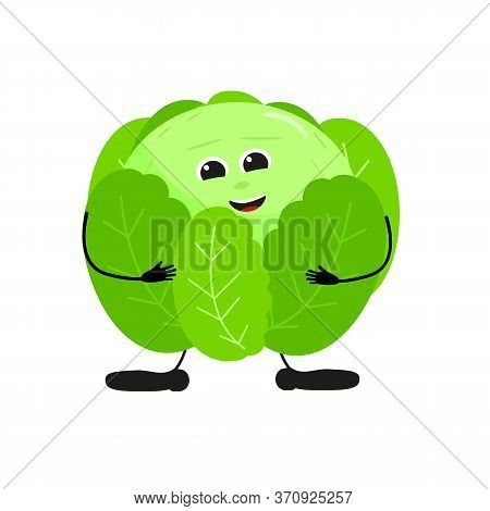 Cute Happy Green Cabbage Characters. Vector Flat Illustration Isolated On White Background. Doodle C