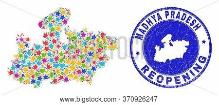 Celebrating Madhya Pradesh State Map Collage And Reopening Grunge Stamp Seal. Vector Collage Madhya