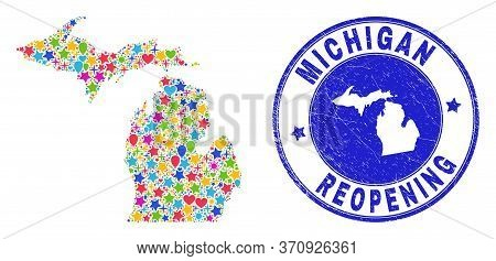 Celebrating Michigan State Map Collage And Reopening Rubber Stamp. Vector Collage Michigan State Map
