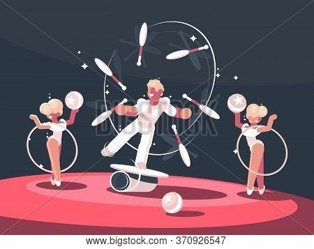 Artist Juggler In Circus Arena. Man Juggling