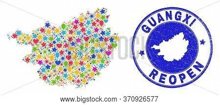 Celebrating Guangxi Province Map Mosaic And Reopening Grunge Stamp Seal. Vector Mosaic Guangxi Provi