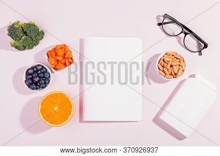 Vitamins And Supplements To Keep Eyes Healthy, Blank Chart For Text On Pink Background. Eyeglasses,
