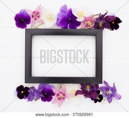 Flowers Flat Design. Floral Composition , Black  Frame  With Violet , Purple, Pink White  Flowers. T