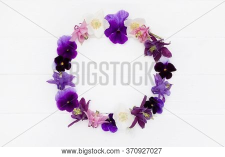 Flowers Flat Design. Floral Round  Frame, Flowers Wreath With   Violet , Purple, Pink White  Flowers