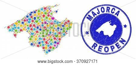 Celebrating Majorca Map Collage And Reopening Rubber Seal. Vector Collage Majorca Map Is Formed From