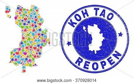 Celebrating Koh Tao Map Collage And Reopening Grunge Stamp. Vector Mosaic Koh Tao Map Is Done Of Ran