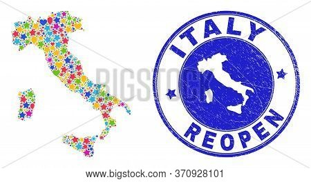Celebrating Italy Map Collage And Reopening Grunge Stamp. Vector Collage Italy Map Is Formed Of Rand