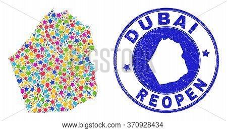 Celebrating Dubai Emirate Map Mosaic And Reopening Corroded Watermark. Vector Mosaic Dubai Emirate M