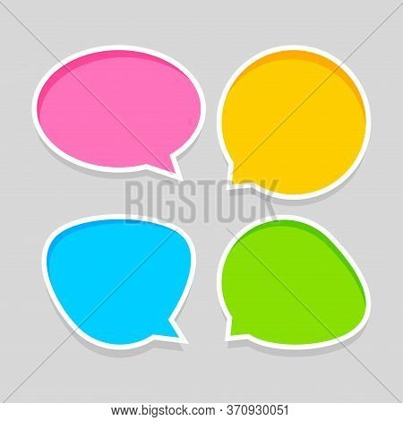 Speech Bubble For Message Talk And Copy Space Text, Colorful Speech Bubble Isolated On Grey, Label S