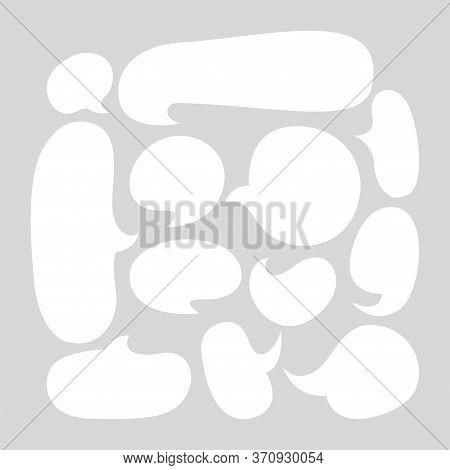 White Speech Bubble Isolated On Grey, Speech Balloon Ellipse Sign For Communication Symbol, Doodle W