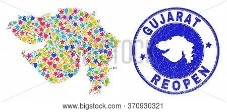 Celebrating Gujarat State Map Collage And Reopening Scratched Stamp. Vector Collage Gujarat State Ma