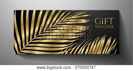 Gift Voucher/ Gift Certificate With Gold Luxe Palm Branch Isolated On Black Background. Premium Temp
