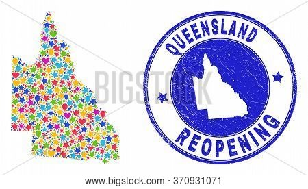 Celebrating Australian Queensland Map Collage And Reopening Rubber Stamp Seal. Vector Collage Austra