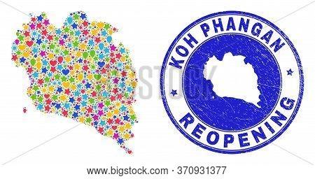 Celebrating Koh Phangan Map Mosaic And Reopening Dirty Stamp Seal. Vector Mosaic Koh Phangan Map Is