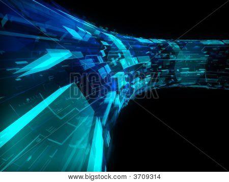 Blue And Green Transparent Futuristic Construction