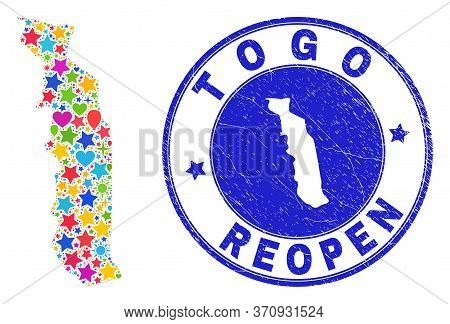 Celebrating Togo Map Collage And Reopening Corroded Seal. Vector Collage Togo Map Is Constructed Of