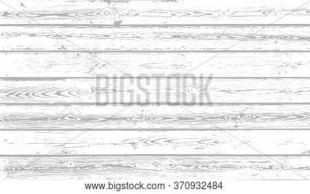 White Wood Texture Background. Weathered Wooden Planks. Vector