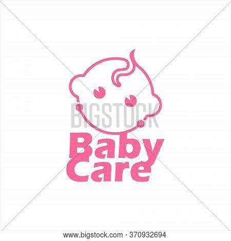 Modern Baby Face New Born Vector. Motherhood Logo Design Template, Child Care Icon Inspiration
