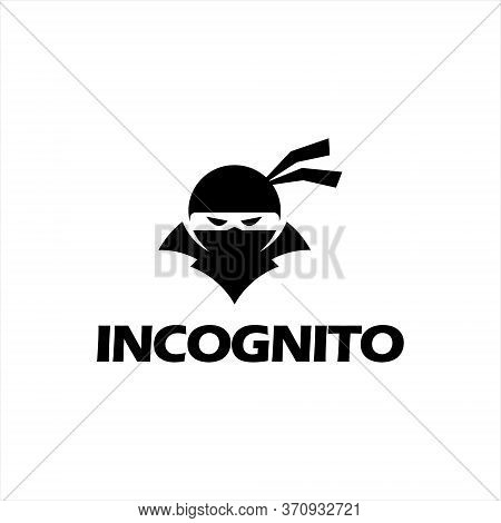 Simple Ninja Face Spy Vector Logo. Private Technology Icon Inspiration
