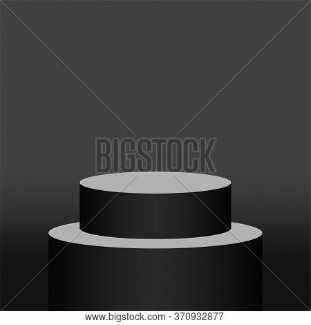 Black Pedestal Cylinder Circle For Cosmetics Showcase, 3d Podium Circle Stage Black Grey Color, Podi
