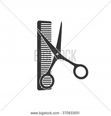 Vector Illustration. Scissors And Comb Isolated On White Background, Simple Flat Design