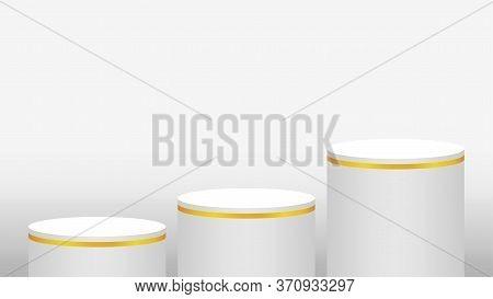 Pedestal Cylinder Circle 3 Steps For Cosmetics Showcase, Podium Circle Stage White Grey Color, Platf