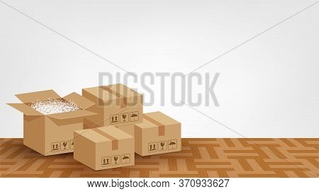 Boxes Brown Placed On The Parquet Floor In The Room Empty, Cardboard Carton Box, Stack Cardboard Box