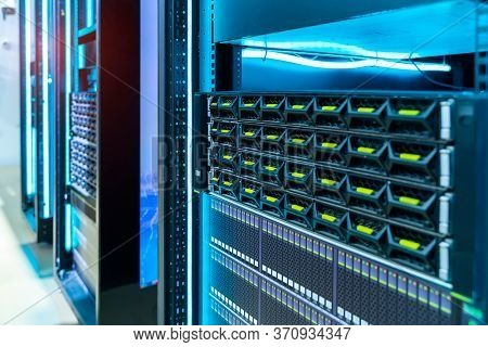 Panel of modern servers in the data center