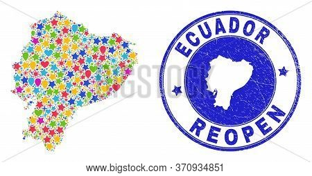 Celebrating Ecuador Map Mosaic And Reopening Rubber Stamp Seal. Vector Collage Ecuador Map Is Done W