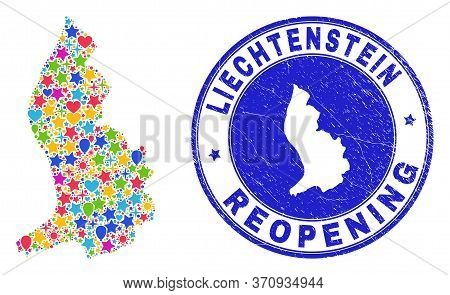 Celebrating Liechtenstein Map Mosaic And Reopening Dirty Seal. Vector Mosaic Liechtenstein Map Is Co