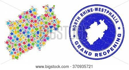 Celebrating North Rhine-westphalia Land Map Collage And Reopening Grunge Stamp. Vector Collage North