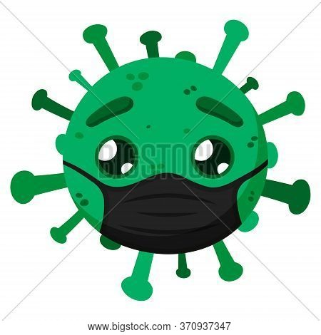 Green Coronavirus With A Black Face Mask. Covid-19. Funny Cartoon Character With Emotion. Sad. Vecto