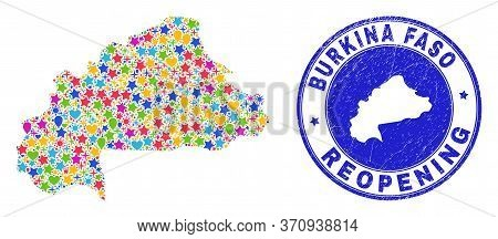 Celebrating Burkina Faso Map Mosaic And Reopening Rubber Seal. Vector Mosaic Burkina Faso Map Is For