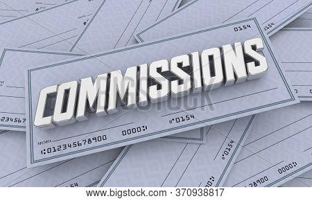 Commission Checks Incentive Payments Income Money 3d Illustration