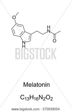 Melatonin, Skeletal Formula And Molecular Structure. Hormone That Regulates The Sleep-wake Cycle, Pr