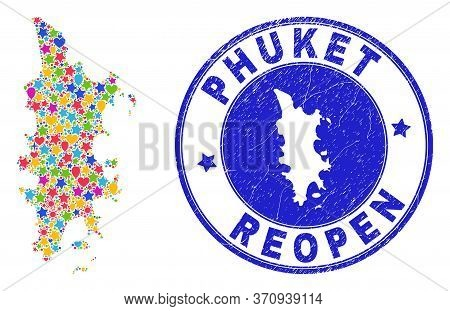Celebrating Phuket Map Mosaic And Reopening Unclean Stamp Seal. Vector Collage Phuket Map Is Created
